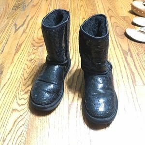 Ugg sequin winter boots leather size 6